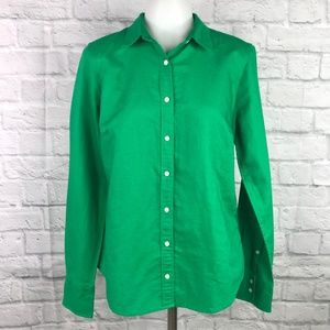 J. Crew Size 8 Button-Front Top Perfect Fit Green